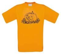 Pompoen met herfstblaadjes halloween t-shirt korte mouw
