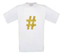 Glitter goud hashtag t-shirt korte mouw