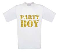 glitter goud party boy t-shirt korte mouw