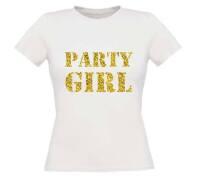 Glitter goud party girl t-shirt korte mouw