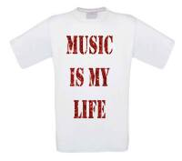 glitter rood music is my life t-shirt korte mouw
