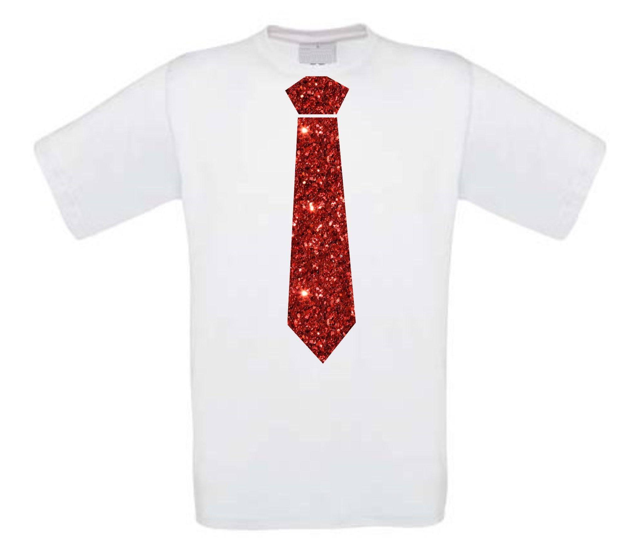 T Shirt Glitter Stropdas Korte Rood Mouw CBWdxoeQrE