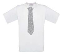Glitter zilver stropdas t-shirt korte mouw