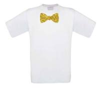 Vlinderstrik glitter goud t-shirt korte mouw