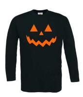 Halloween pompoen gezicht t-shirt lange mouw