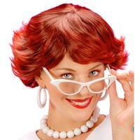 Pruik Audrey bordeax rood schoolmeisje