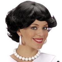 Pruik Audrey zwart schoolmeisje