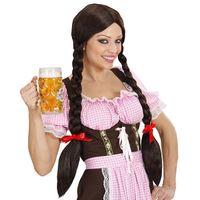 Pruik Heidi tirol bruin haar met lange vlechten