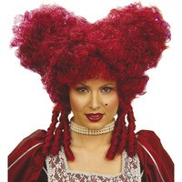 Pruik barok edelvrouw rood