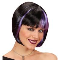 Pruik zoey zwart met paarse highlights