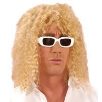 Foute zanger pruik blond met krullen lang haar