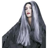 Heksen pruik grijs Mortisia lang haar