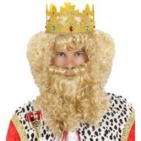 Luxe Set Koning pruik snor baard