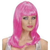 Party pruik lang haar roze trendy