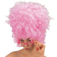 Pruik Pruscillia met een grote bos haren in het roze