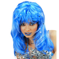 Pruik blauw met glitters Stardust