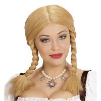 Pruik blond met vlechten tirol