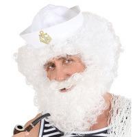 Pruik zeeman wit krullen met baard