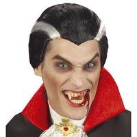 Vampier pruik zwart met grijs