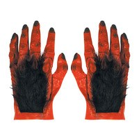 Latex duivel handschoenen rood met haar