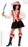 luxe pirate dame , piraten outfit rood fluweel