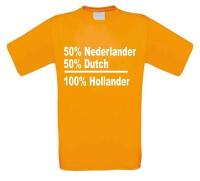 50 procent dutch 50 procent nederlander is 100 procent hollander t-shirt korte mouw oranje