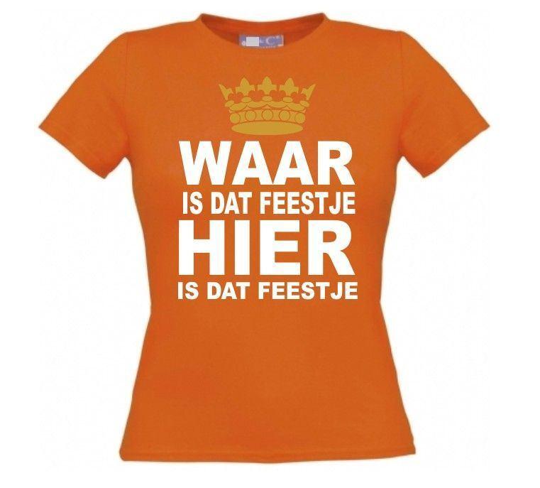 e5cef7fb0638de ... foto 2 koningsdag t-shirt oranje waar is dat feestje korte mouw