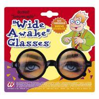 Bril met ogen die net wakker worden