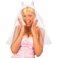 Bruidssluier met rose duivelshoorntje