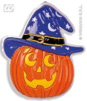 Wanddecoratie pompoen met heksenhoed halloween