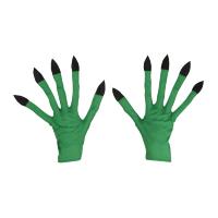 Groene heksen handschoenen met zwarte nagels