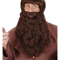 Bruine baard met snor volwassen piraat of monnik