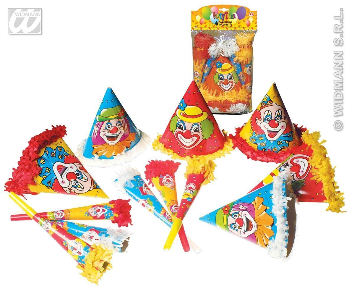 clown party 6 hoedjes en 6 toeters