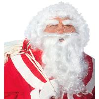 Witte kerstmannen pruik met baard inclusief wenkbrouwen
