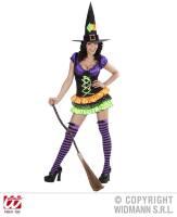 Kleurrijke heksenjurk kort model dame Rhonda