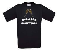 Gelukkig nieuwjaar champagneglazen t-shirt korte mouw
