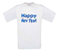 t-shirt korte mouw happy new year in 3d letters