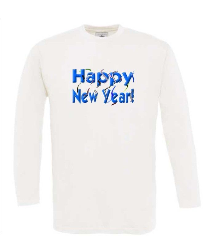 t-shirt lange mouw happy new year in 3d letters