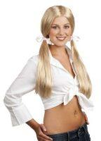 Pruik schoolgirl blond school meisje