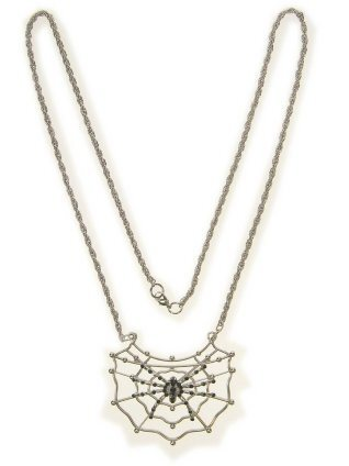 Collier spin in web zilver spinnenweb ketting