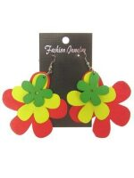 Oorbellen bloem rood geel groen