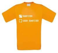 Landmacht parodie kampioen geen kampioen t-shirt korte mouw oranje