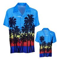 Tropisch hawaii blouse blauw met palmbomen