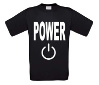 power met power knop icoon t-shirt korte mouw