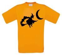 Heks op bezemsteel en halfvolle maan t-shirt korte mouw