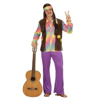 Hippie man flower power seventies kostuum