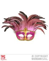 masker countess met glitters en veren, rose