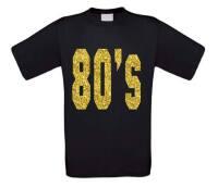 80 ties shirt disco t-shirt korte mouw glitter goud