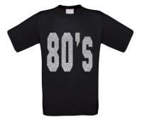 80 ties shirt disco t-shirt korte mouw glitter zilver