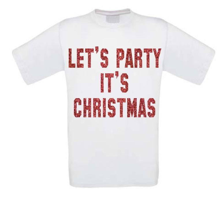 lets party its christmas glitter rood t-shirt korte mouw